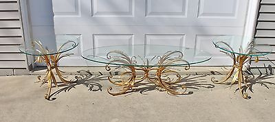 3 Coffee & End Tables Mid Century Hollywood Regency Sheaf Wheat Gilt Metal Base