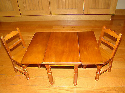 American Girl Molly Wooden Drop Leaf Table And 2 Chairs Retired