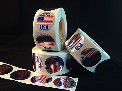 500 Made In U.S.A. Labels stickers (silver)