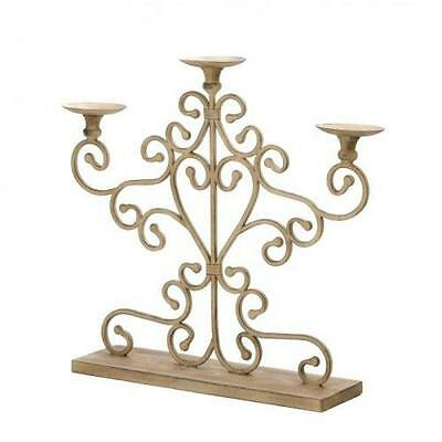 AEWH-10015540-Cast Iron Antiqued Scrolled Three-Candle Candelabra