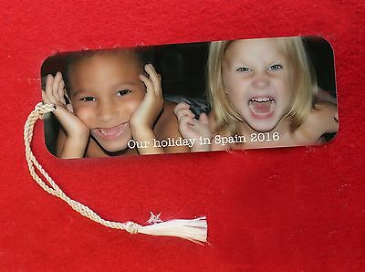 PERSONALISED Metal Bookmark printed with YOUR OWN PHOTO AND MESSAGE
