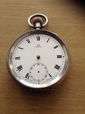 Antique Sterling Silver Omega Pocket Watch For Spares or Repair only