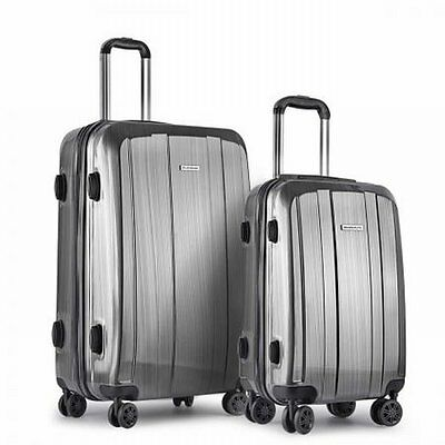 """NEW 2 Pieces Premium Hard Shell Travel Luggage 20"""" AND 28"""" with TSA Lock - Grey"""