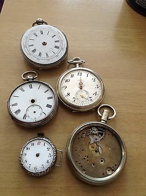 Antique Lot Of Sterling Silver Pocket Watches Spares or Repair only