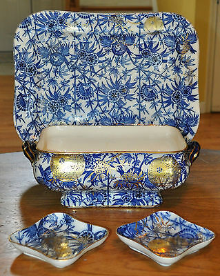 Lovely 4-Piece Antique Flow Blue China Doulton Lambeth Tureen Platter Dishes