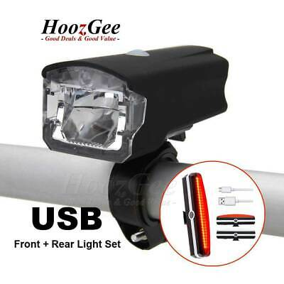 USB Rechargeable MTB Road Bike Bicycle LED Head Front Light & Rear Tail Lamp Set