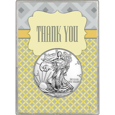 2019 Silver American Eagle BU in Thank You Gift Holder