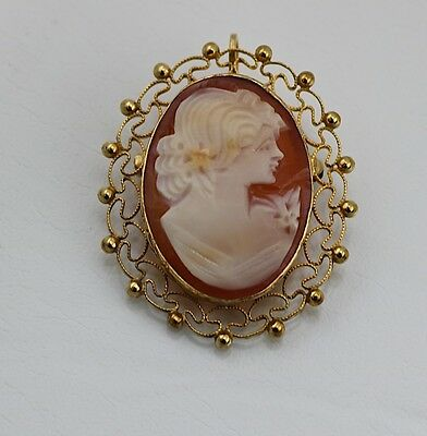 SALE Van Dell Cameo Shell 14K GF Pendant/ Broach Carved Shell