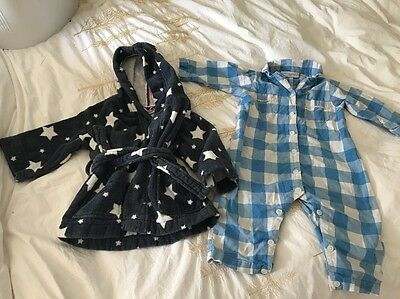 Little White Company Boys Dressing Gown And Sleep Romper suit 6-18 Months