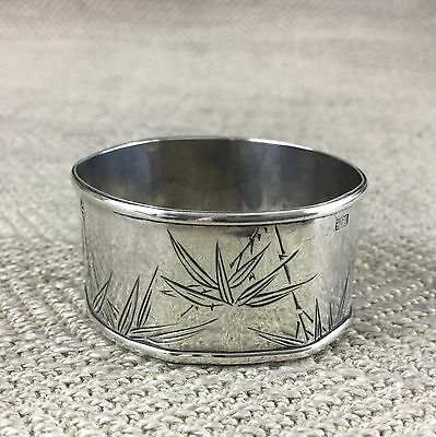 Antique Chinese Silver Napkin Ring Engraved Bamboo