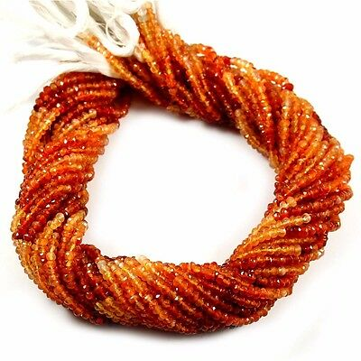 """Shaded Carnelian Natural Gemstone Rondelle Shape Faceted Beads 13"""" Strand 3-4 mm"""