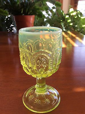 Moon and Star Vaseline Opalescent Yellow Wine Glass