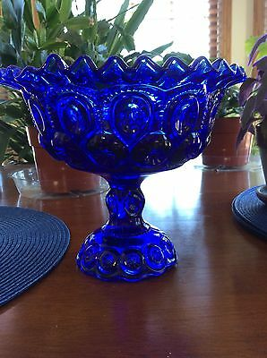 Moon and Star Cobalt Blue Glass Compote