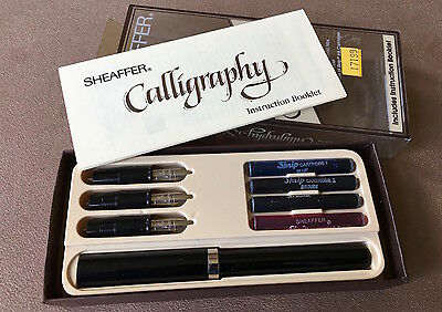 New Old Stock Sheaffer Calligraphy Set, c1980s, Black, 1 Pen, 3 Different Nibs