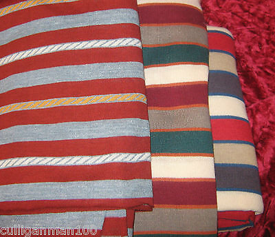 1 - lot of 3 - T'shirt Fabric in Red Stripes (2017-109)
