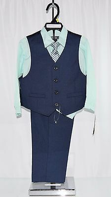 Kenneth Cole Reaction Boys 4-Piece Pants Suit Set, Navy/Mint