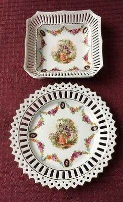 2 Vintage Reticulated  German China Display Plate and Bowl with Colonial Couple