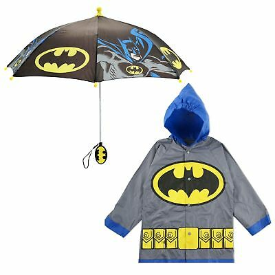 DC Comics Batman Slicker and Umbrella Rainwear Set, Little Boys, Age 2-7