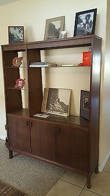 Vintage Mid Century Modern Century Furniture Walnut? China Cabinet Bookcase
