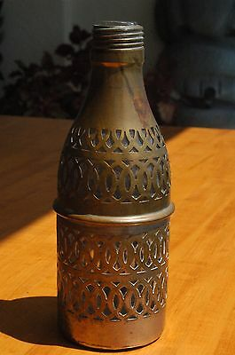 Antique Clear Glass Bottle Covered or Molded in Brass Over Metal
