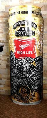 MILLER HIGH LIFE 4.5 Foot Standing Sign Beer 3D CAN EAGLE AMERICAN ARTIST New