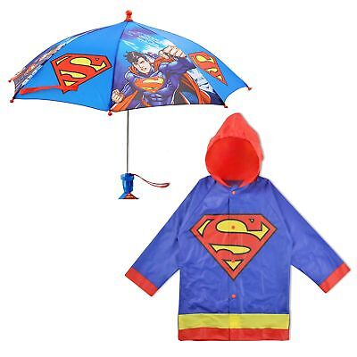 DC Comics Superman Slicker and Umbrella Rainwear Set, Little Boys, Age 2-7