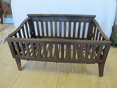Antique Victorian Cast Iron Fireplace Coal Basket Wood Log Grate Holder 23x11x14