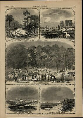 Rebel Batteries Union Army Making Camp SC nice 1863 great old print for display