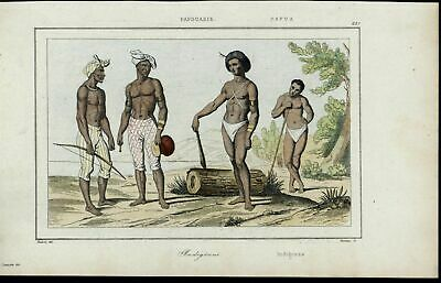 Papua Natives Costume Bow Machete Coast scarce 1863 old hand color view print