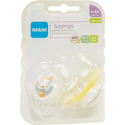 NEW MAM Sayings 2-Pack Soothers - 4-24 Months