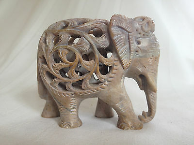 Exquisite ALABASTER STONE ELEPHANT baby elephant inside - vintage carving, India
