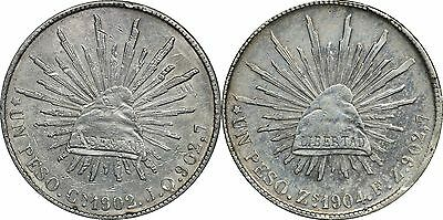 1902 Cn JQ & 1904 Zs FZ Mexico Un Peso Silver Coins, Both XF, Lightly Cleaned