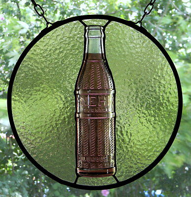 Stained Glass Suncatcher with Vintage Nehi Bottle