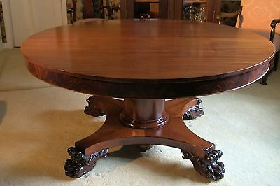 "Antique Solid Mahogany Dining table - Circa 1860 - 60"" Round with 5 leaves"