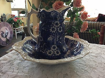 ANTIQUE JAMES KENT Ltd CERAMIC BOWL AND PITCHER STAFFORDSHIRE ENGLAND LOUIS 14TH