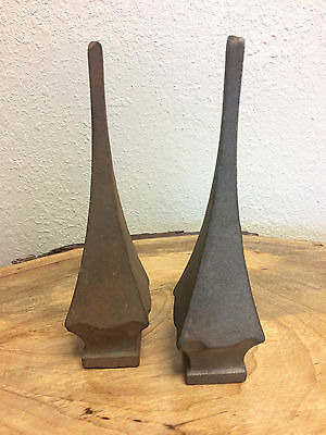2 Old Decorative Cast Iron Finial Spear Pointed Fence Tops