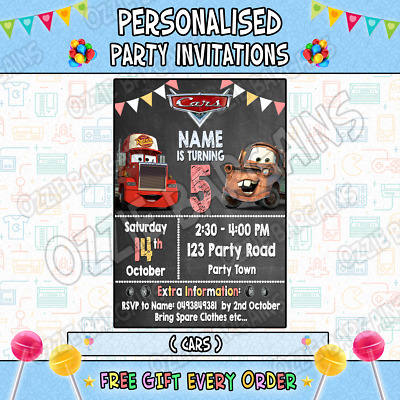 CARS MOVIE / 3 Personalised Birthday Party Invitations / Invites Party Supplies