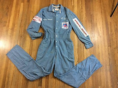 VINTAGE 1980s Coca Cola Cycle Club Official Racing Bicycle Chambray Jumpsuit M