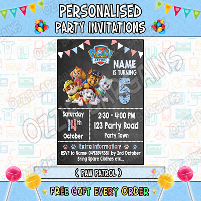 PAW PATROL Personalised Birthday Party Invitations Invites Supplies