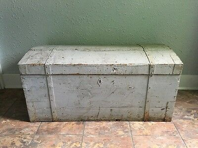 """Antique Steamer Trunk 39"""" Dovetail Wood Immigrant Box Vintage Chest Large"""
