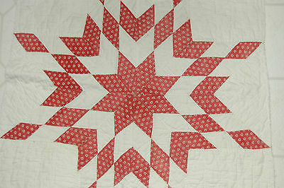 Antique Cotton Star Early Red Black Print 20 x 21 Quilt Piece, Nice