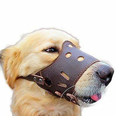 Dog Muzzle Leather Brown Adjustable Small to Large 4 Sizes for any Dog or Puppy
