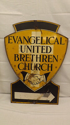 "Vtg Evangelical United Brethren Church Lrg Stewel Sign 31"" x 23"" EUB Protestant"