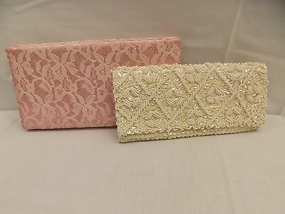 Estate Lot of 2 Vtg 1950s Elegant Evening Clutch Purses Hand Beaded Sequins Lace