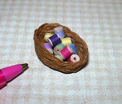 Miniature Basket of Cotton Thread Spools #2: DOLLHOUSE Miniatures 1/12 Scale