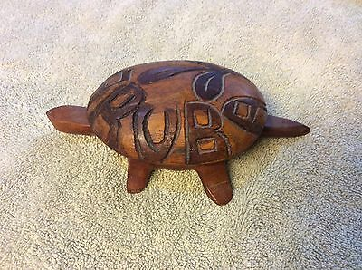 Vintage Aruba Souvenir HAND CARVED  WOOD TURTLE with removable top for jewlery