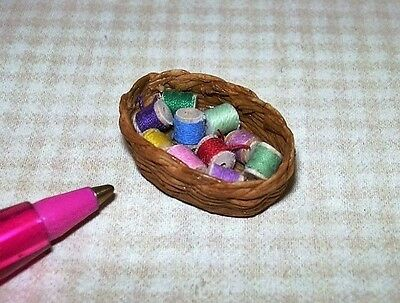 Miniature Basket of Cotton Thread Spools #3: DOLLHOUSE Miniatures 1/12 Scale
