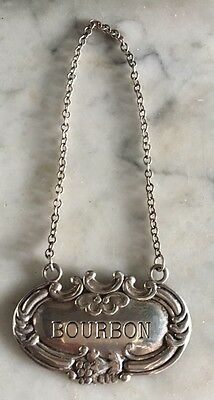 """Sterling Silver Scrolled Hanging Liquor Tag """"BOURBON"""""""