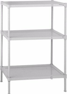 3-Shelf Perforated Steel Shelving Unit in White Home Office Storage Organizer