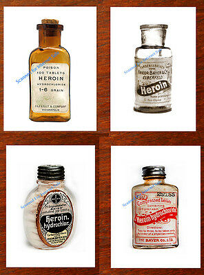 4 Vintage Heroin Bottle  Prints 1800s Antique Medical Oxycodon Ships from USA
